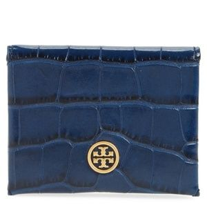 Tory Burch Croc Embossed Card Case